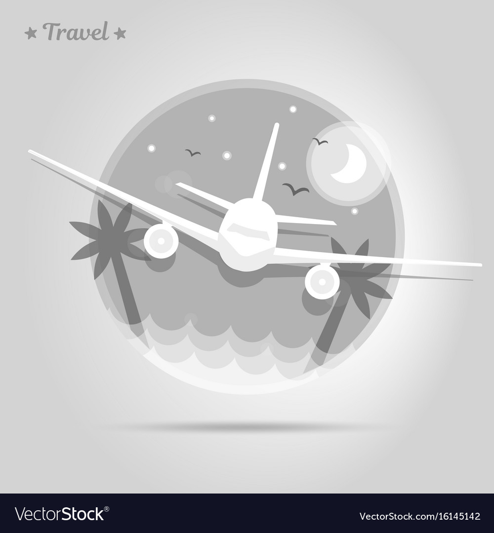 Icon airplane is flying over an island with palms vector image