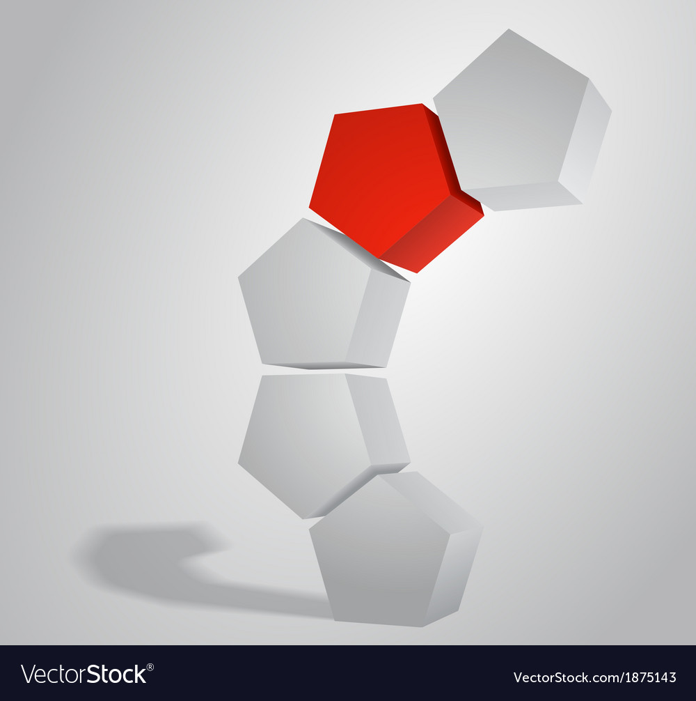 3D Pentagonal Prism Pentaprism Abstract vector image