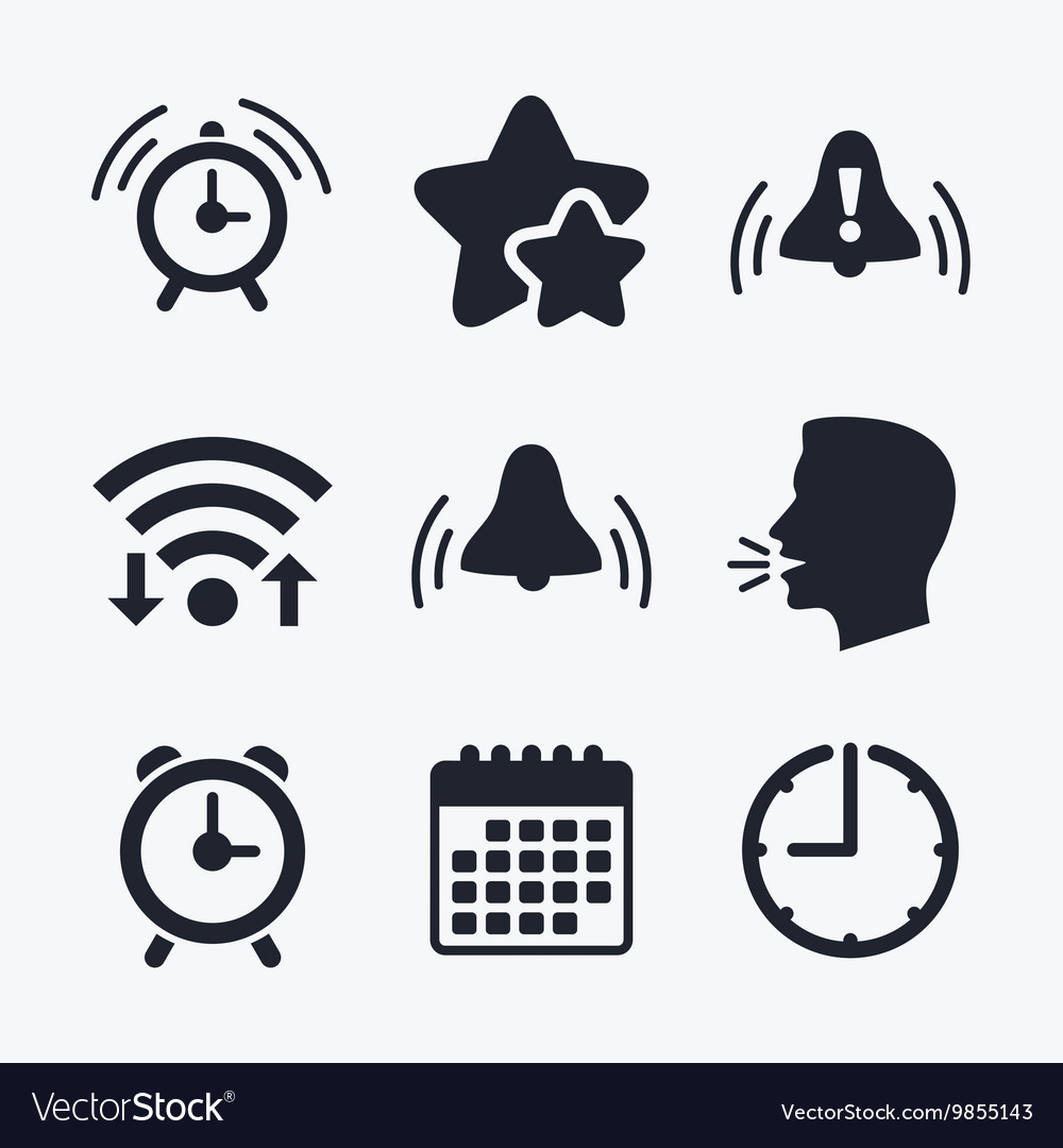 Alarm clock icons wake up bell signs symbols vector image buycottarizona Choice Image
