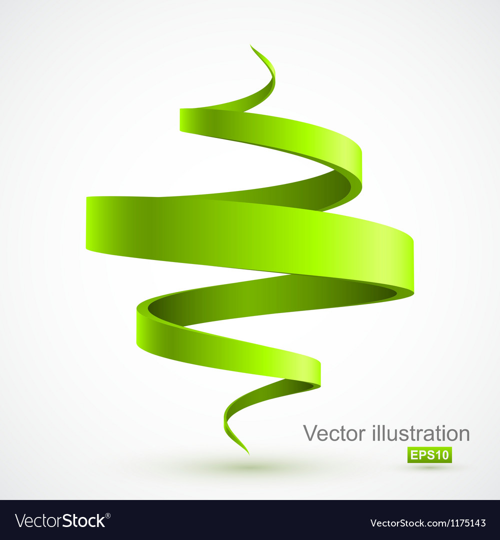 Green spiral 3D vector image
