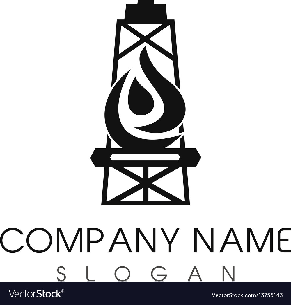 Oil tower company logo vector image