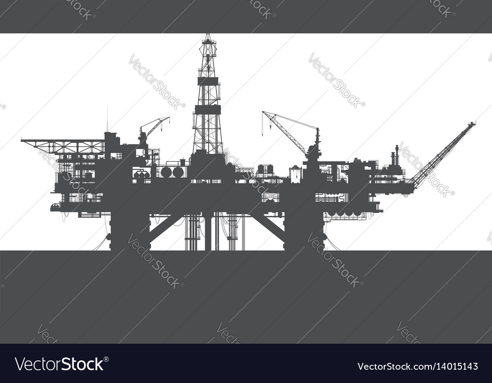 Sea oil rig oil drilling platform vector image