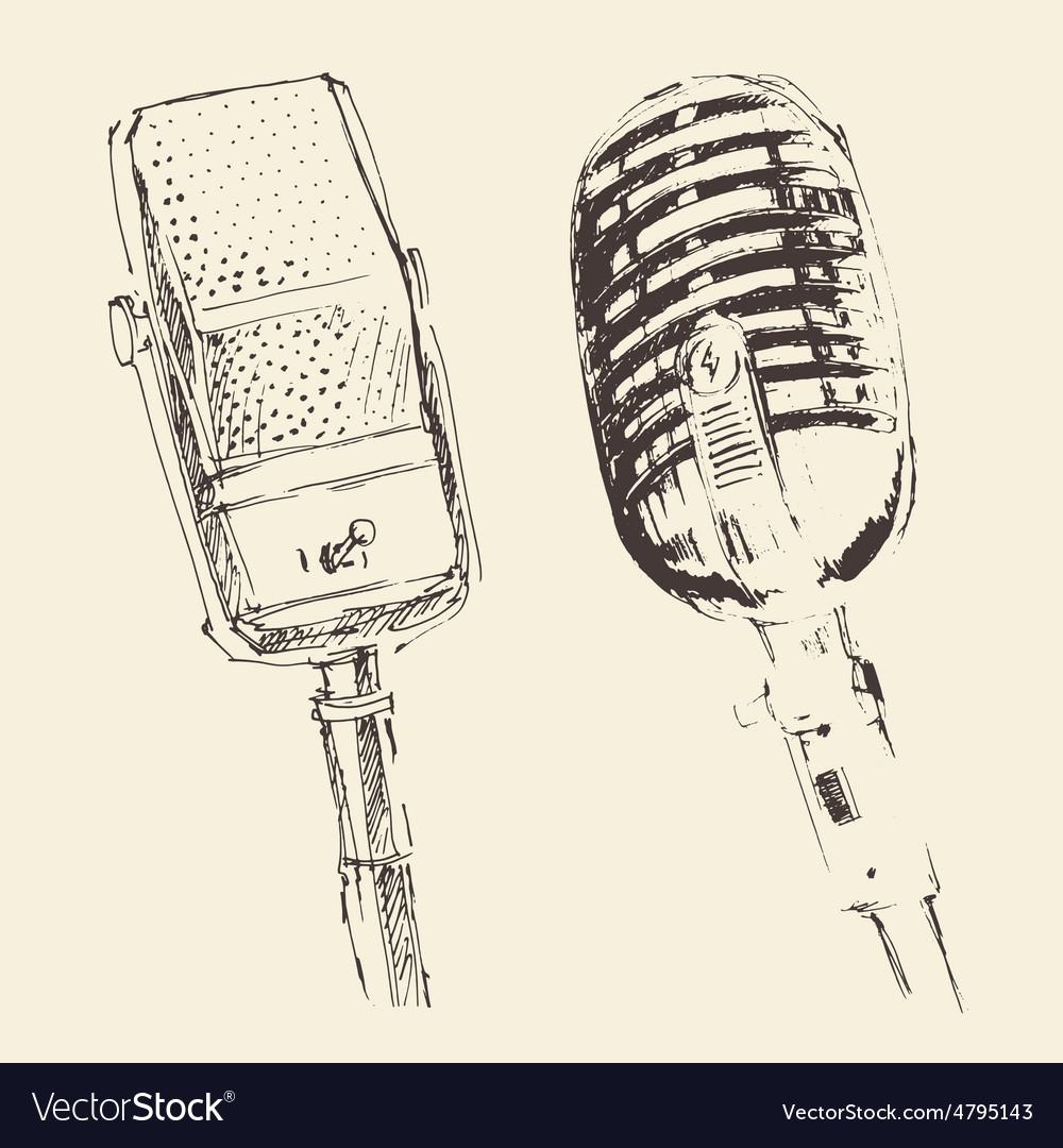 Set of studio Microphones Vintage Engraved Retro vector image