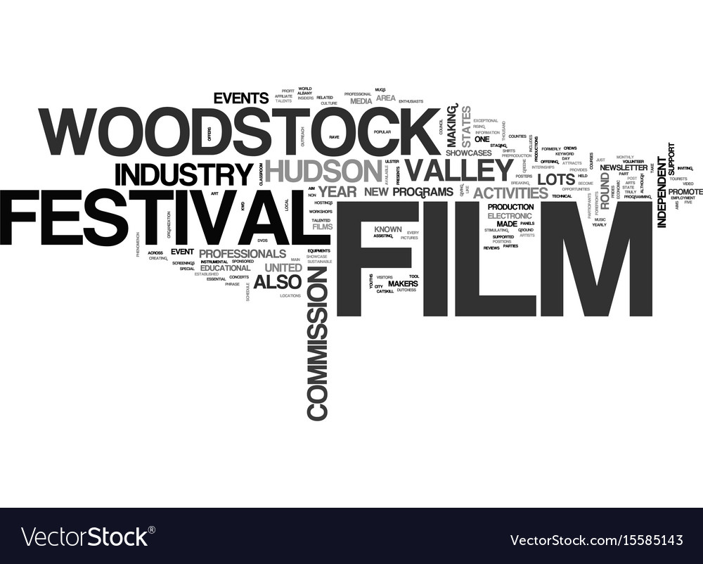 Woodstock film festival text word cloud concept vector image