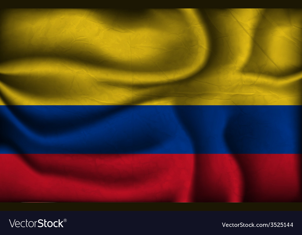 Crumpled flag of Colombia a light background vector image