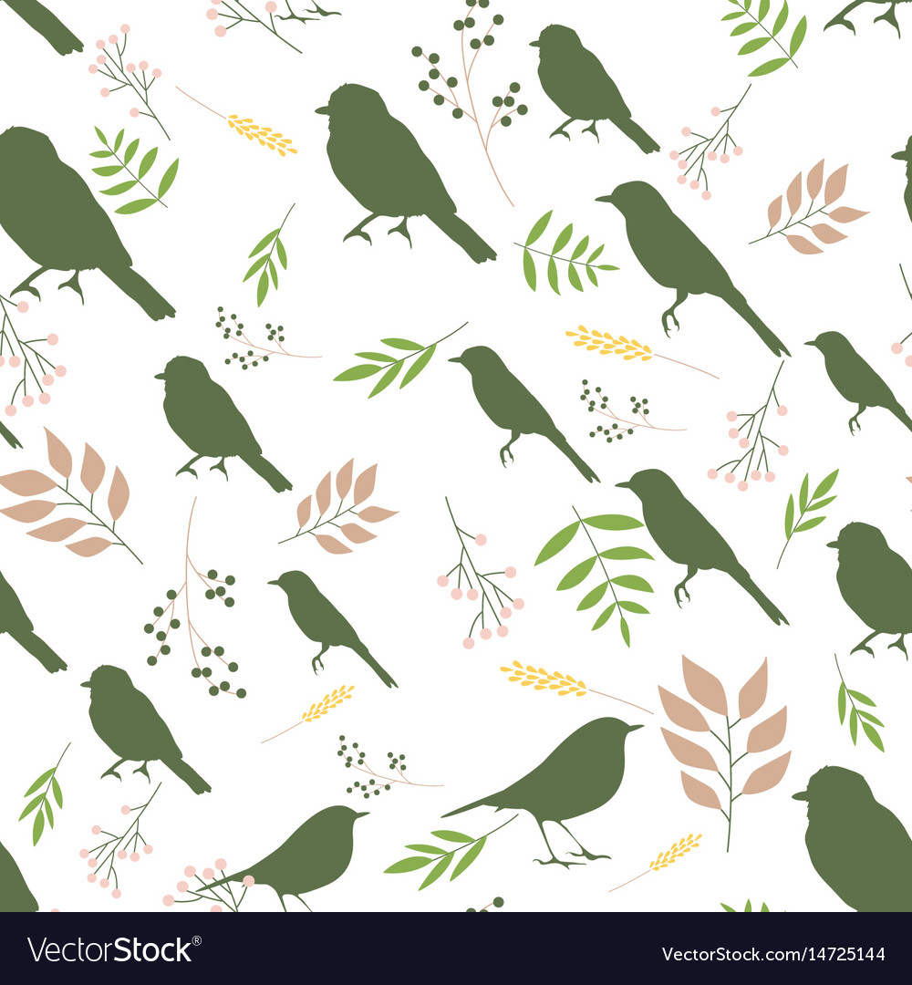 Pattern with birds and branches vector image