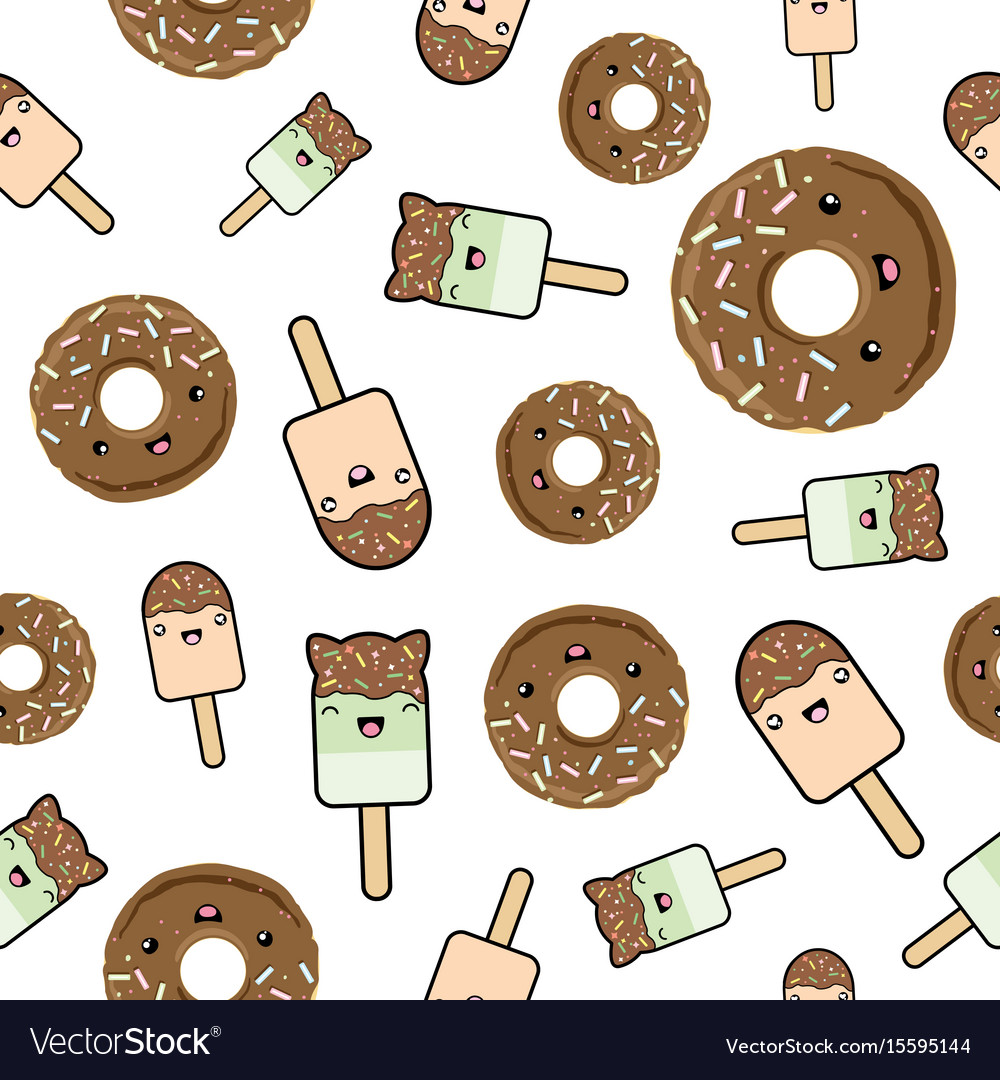 Seamless pattern cute kawaii styled ice cream and vector image