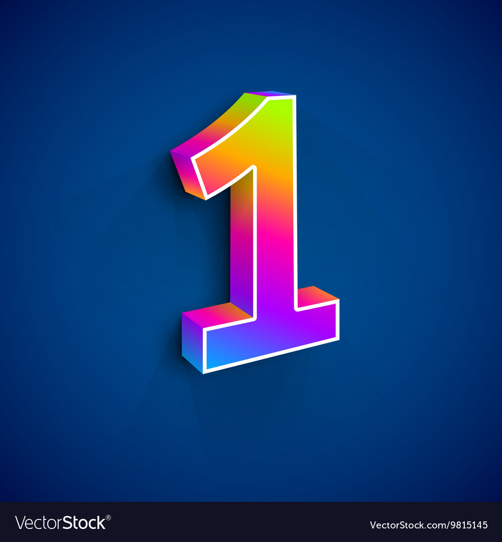 3d Number One vector image