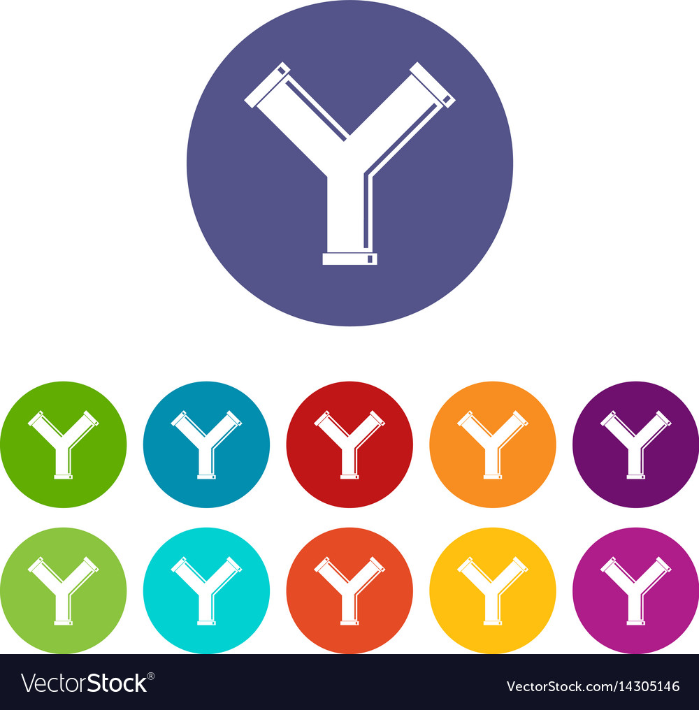 Joint pipe in form y letter icons set flat vector image