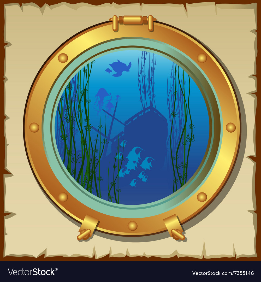 Submarines porthole with underwater view landscape vector image