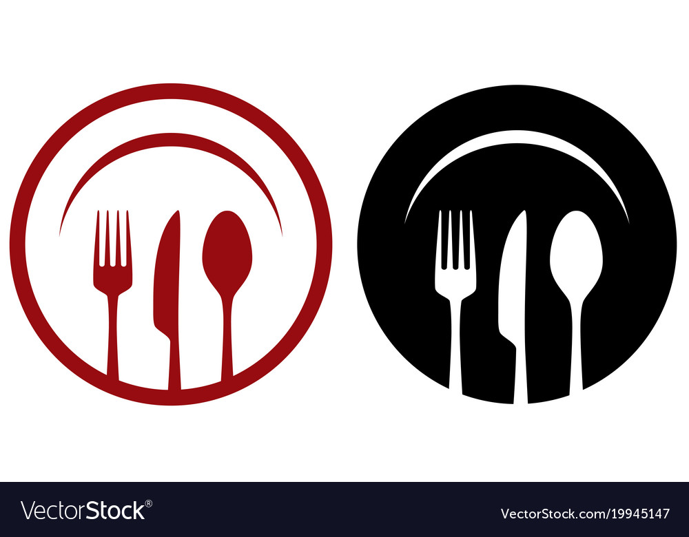 Cafe icons with fork knife spoon plate vector image