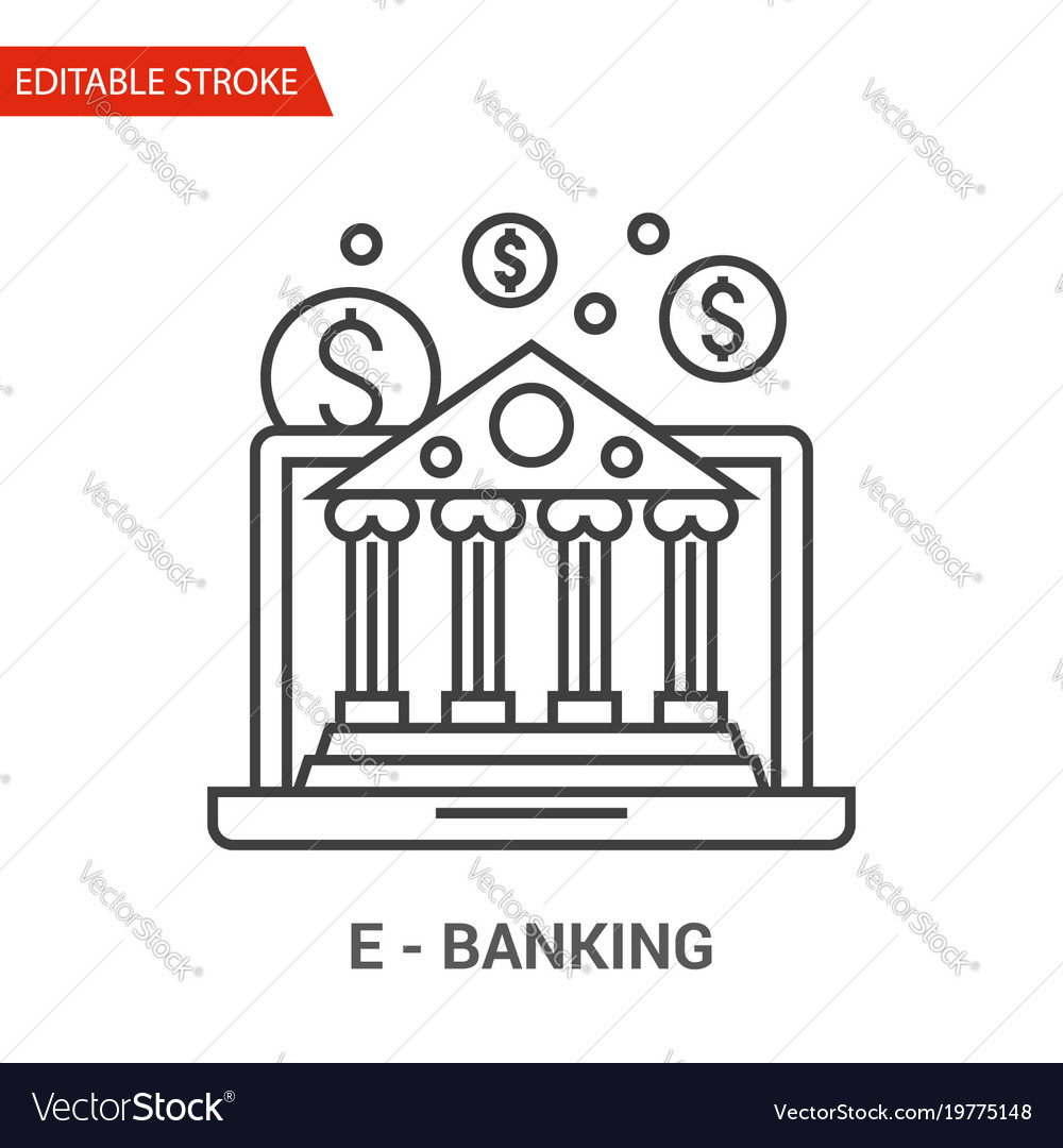 E-banking icon thin line vector image