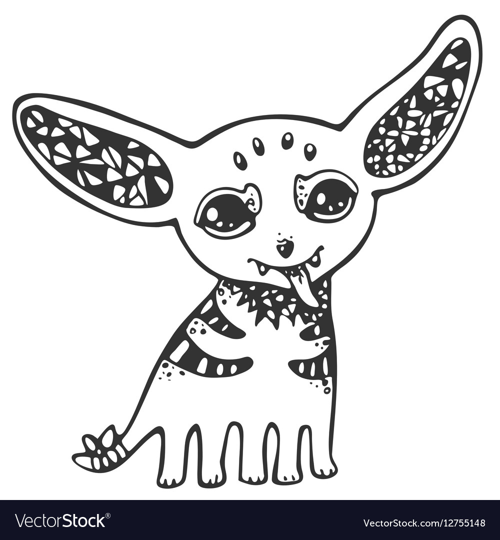 Funny cute eared monsters black and white line vector image