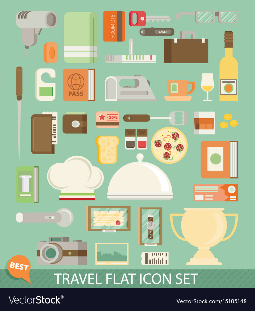 Travel icon set flat vector image