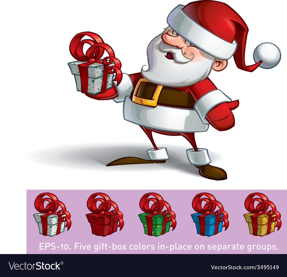 Smilling Santa Holding a Present vector image