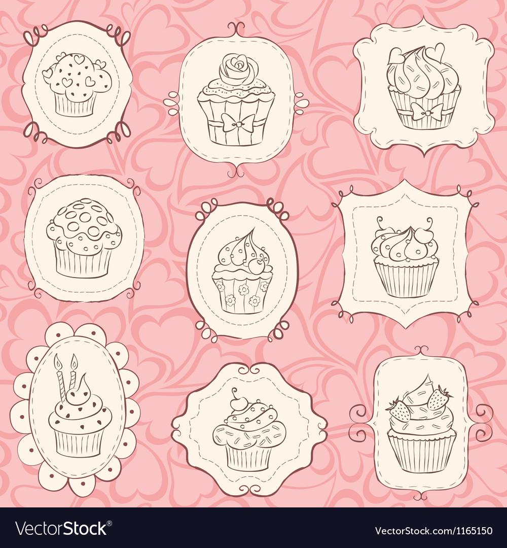 Frames cupcakes vector image