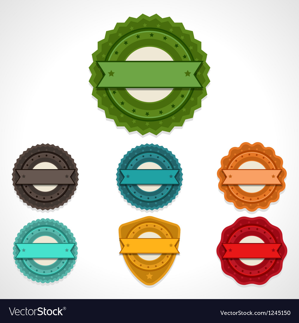 Set of labels badges and ribbons vector image