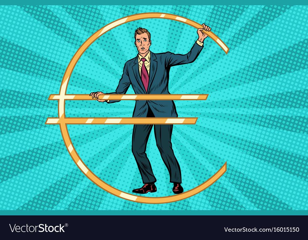 Businessman prisoner in jail euro money vector image