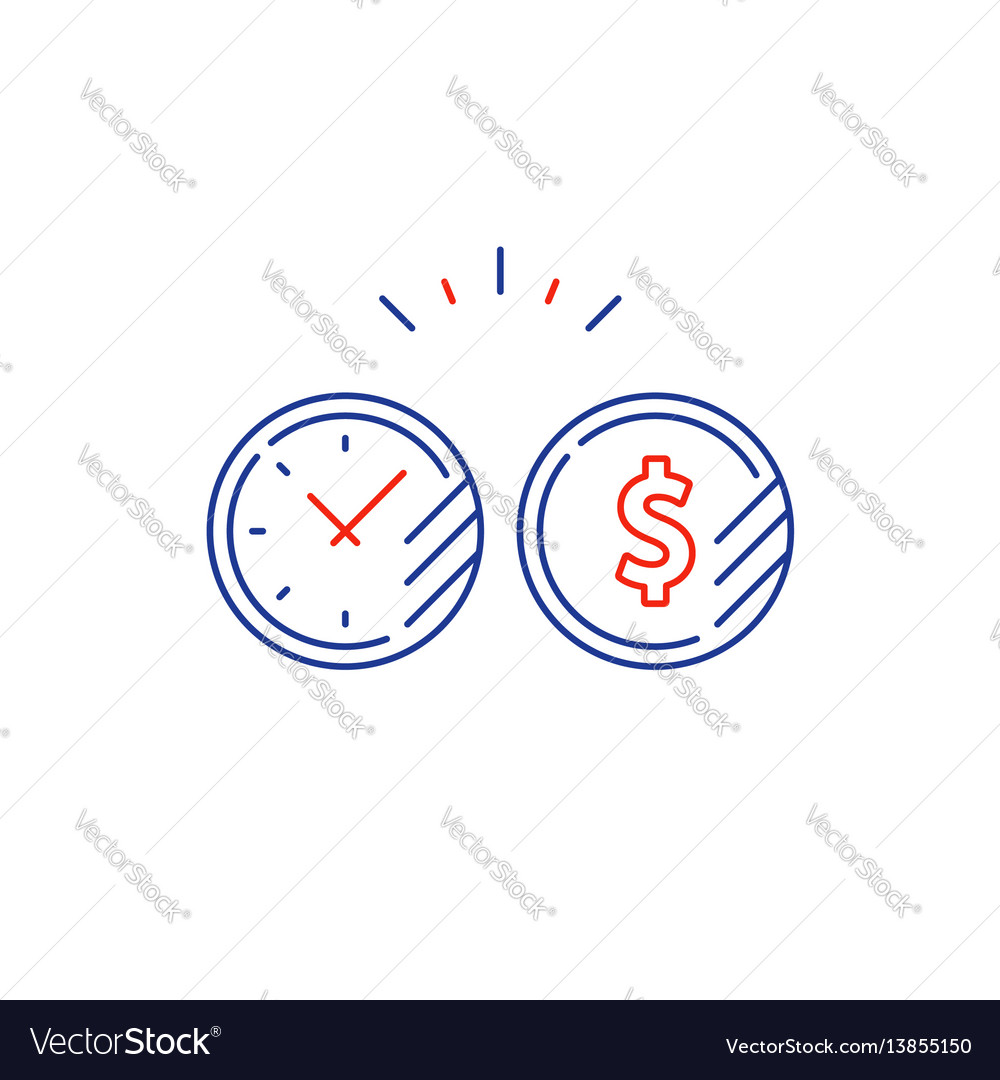 Long term investment plan time and money coin line vector image