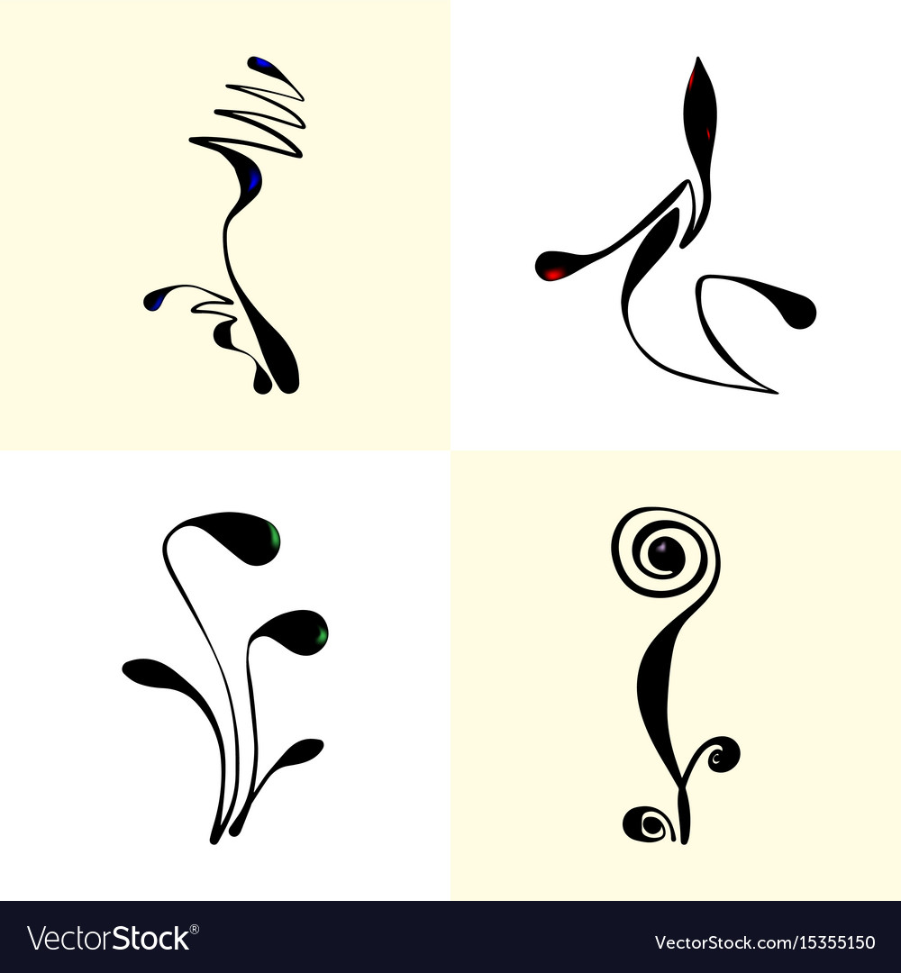 Set with abstract stylized flowers vector image