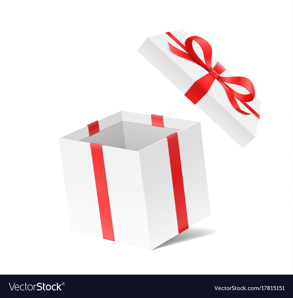Empty open gift box with red color bow knot and vector image negle Image collections