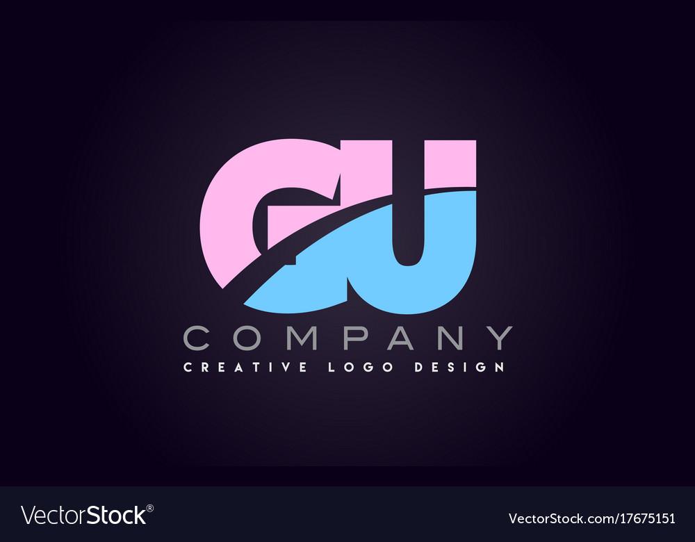 Gu alphabet letter join joined letter logo design vector image