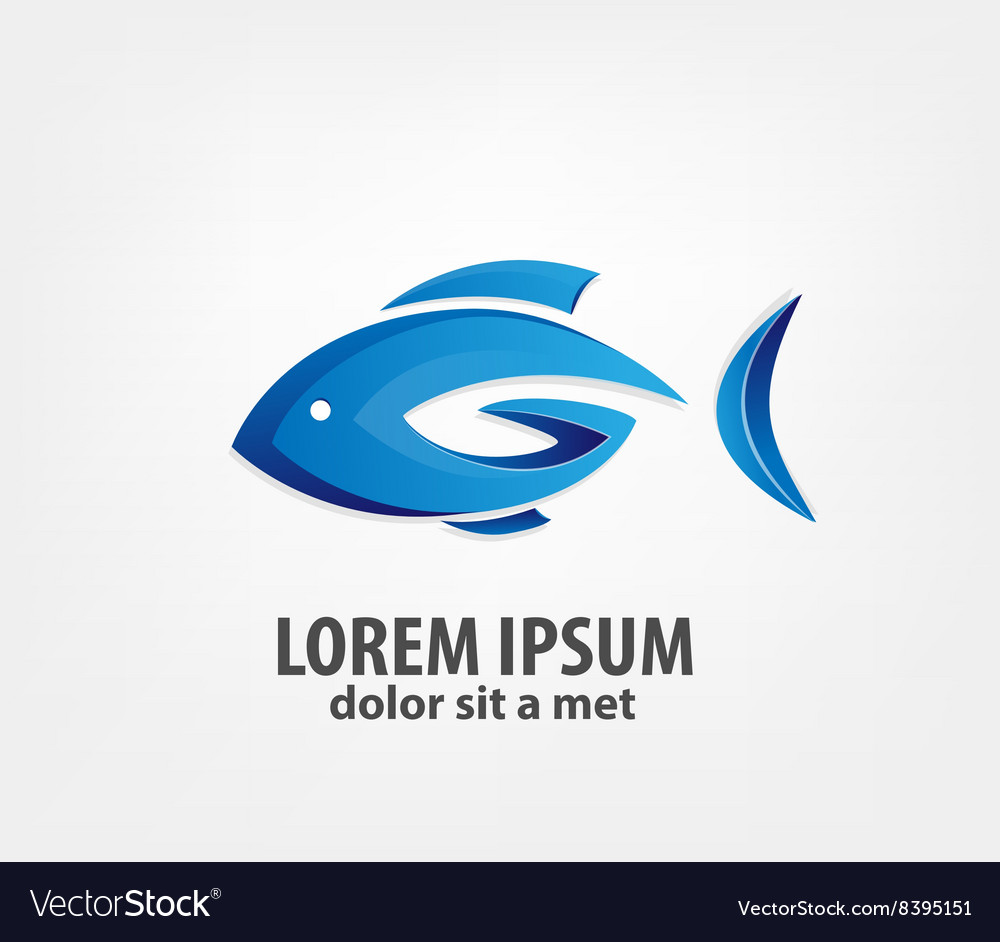 Logo fish 3d vector image