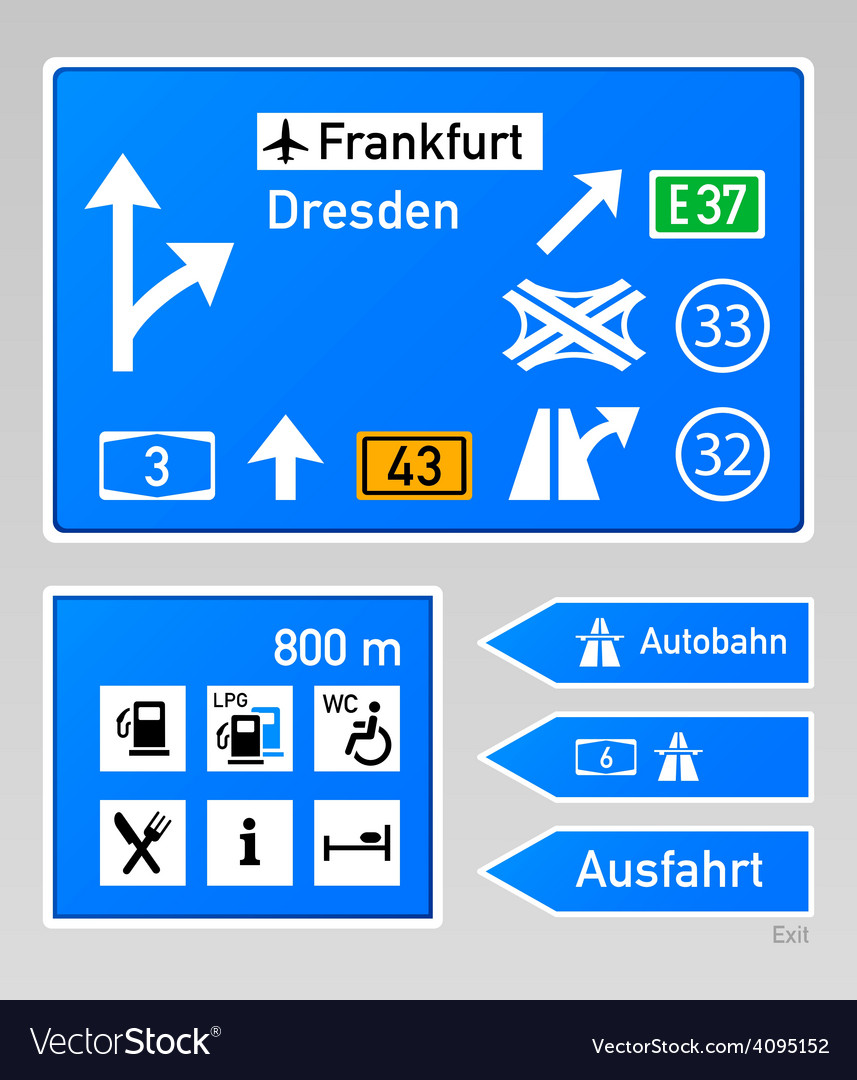 Autobahn signs vector image
