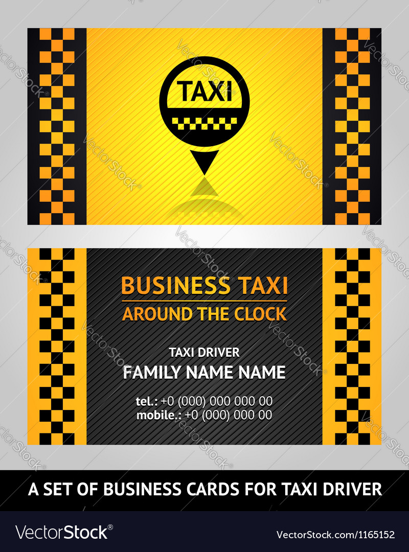 Business cards taxi driver Royalty Free Vector Image