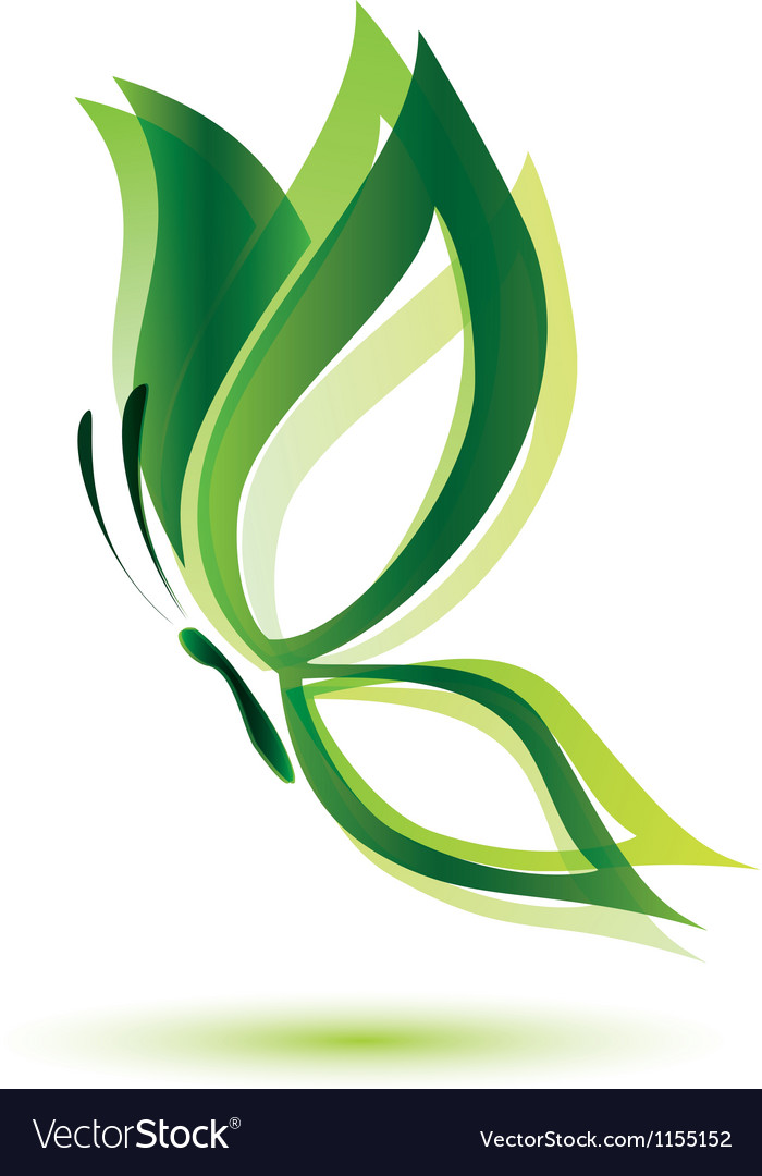 Green butterfly ecology concept isolated symbol vector image