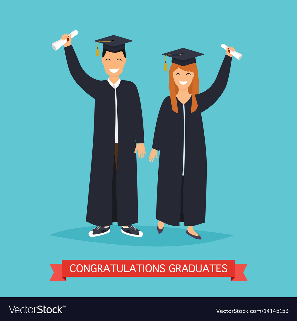 Boy and girl graduates in flat vector image