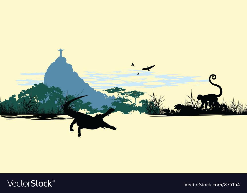 Wild jungle animals on the statue in Brazil vector image