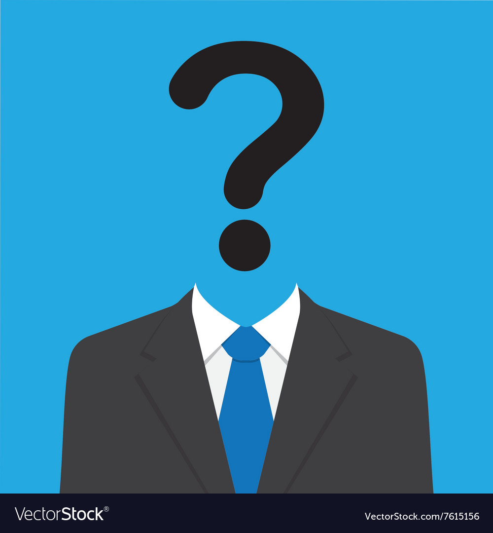 Businessman with Question Mark Head vector image