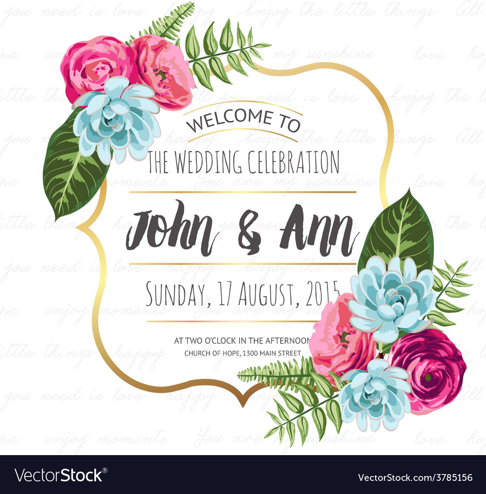 Wedding invitation card with painted flowers Vector Image