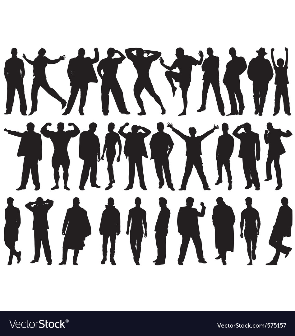 Male model silhouettes vector image