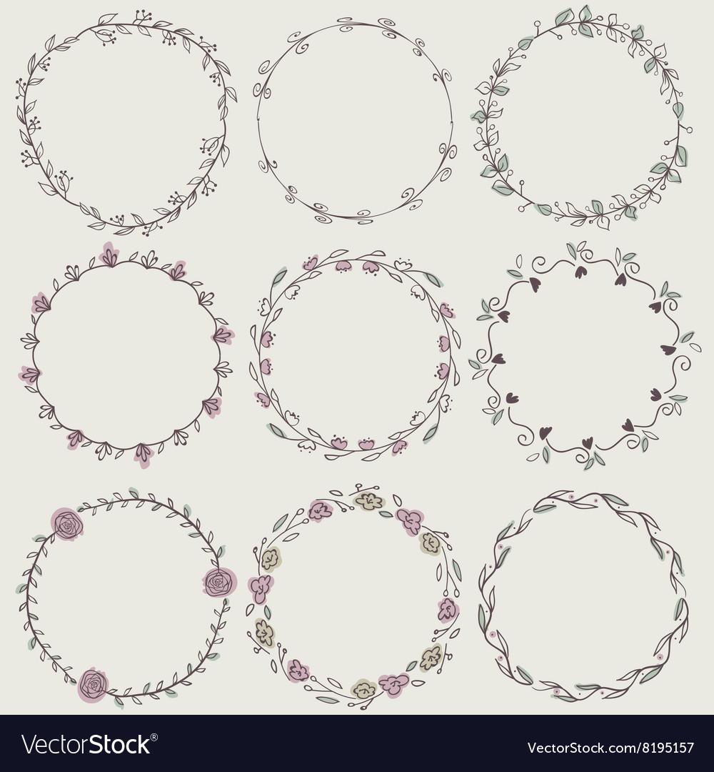Set of nine hand-draw laurel wreaths vector image