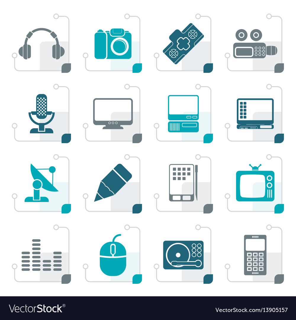 Stylized media equipment icons vector image