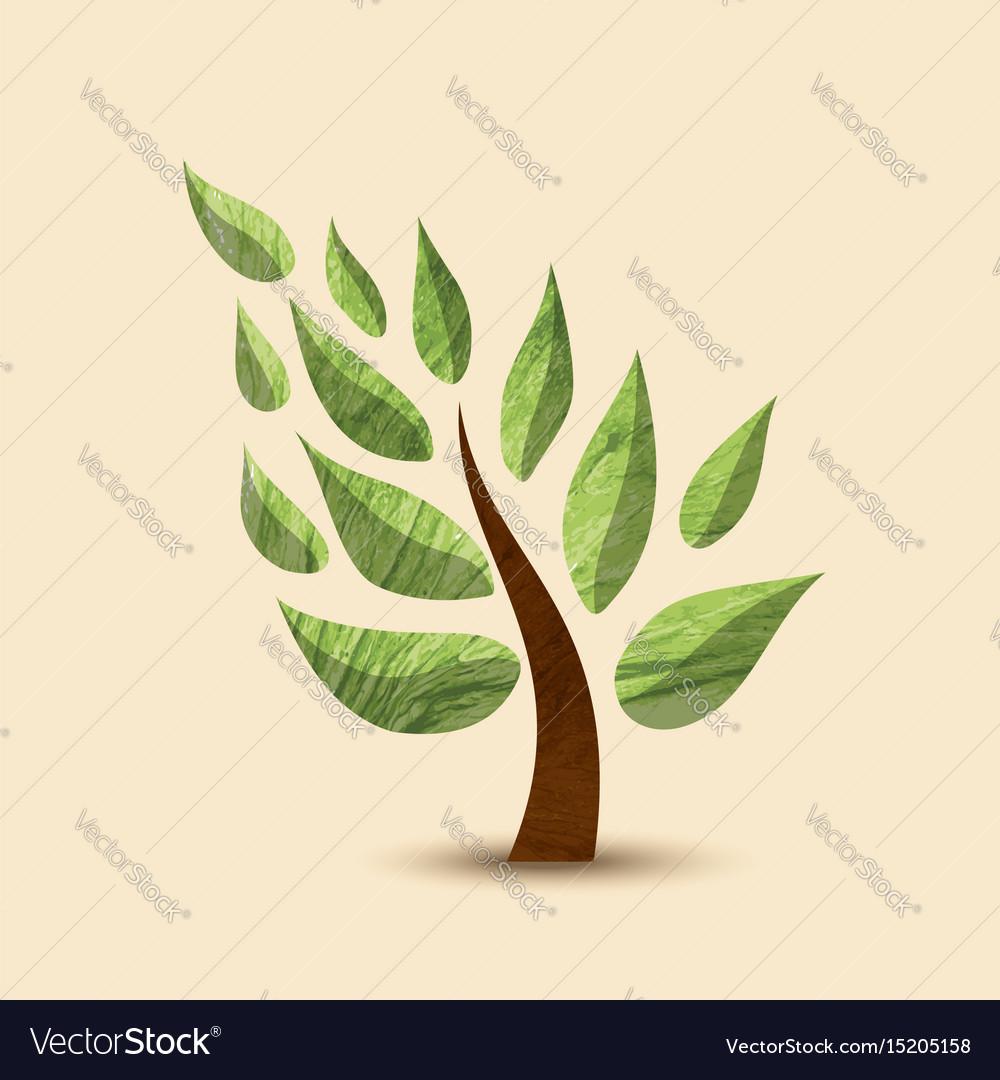Green tree concept symbol design for nature care vector image