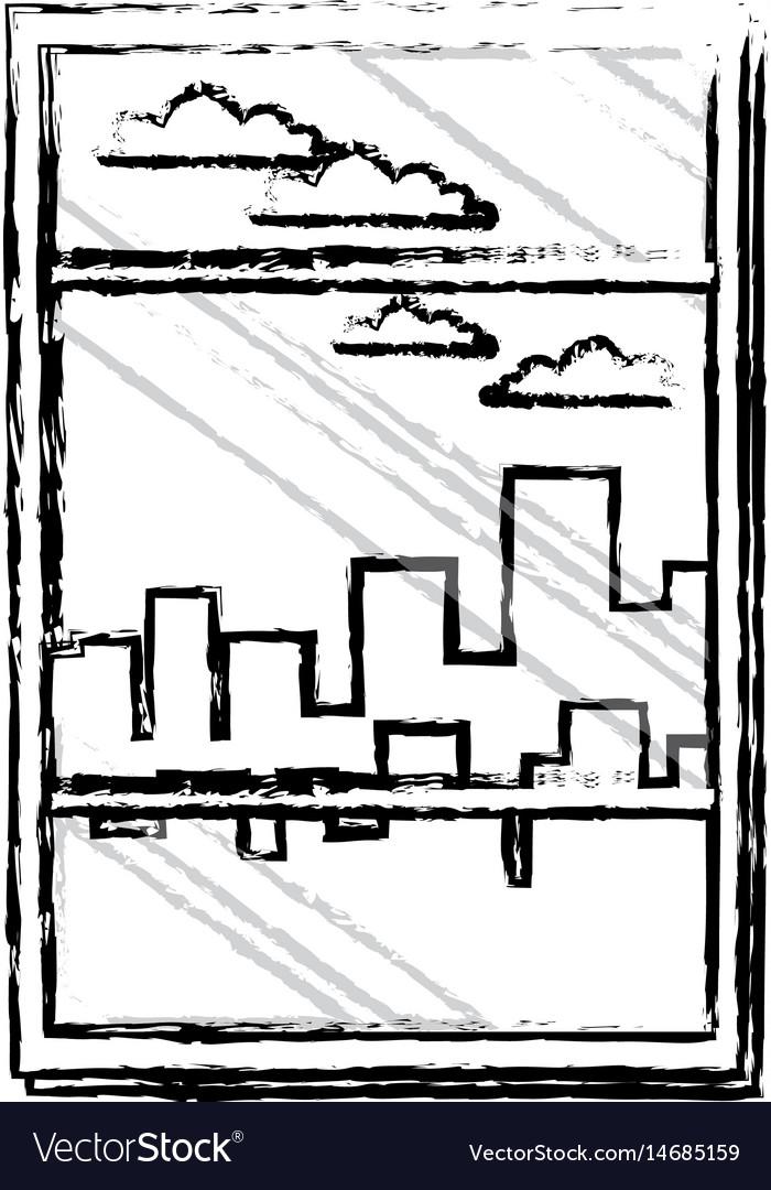 Window building urban skyline sky sketch vector image