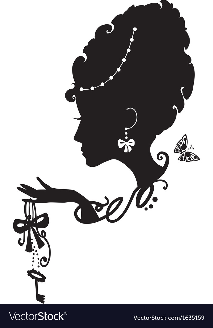 Woman with key and bow vector image