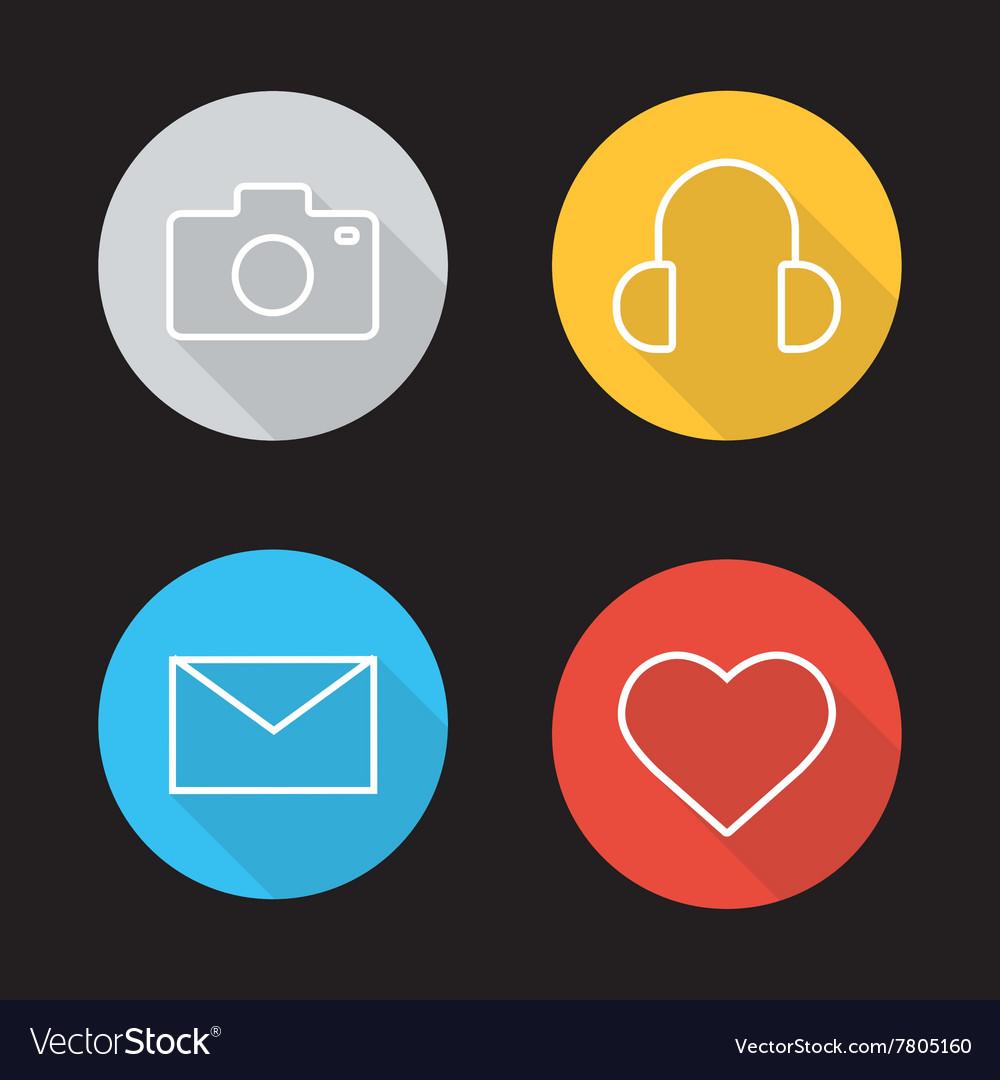 Social media flat linear icons set vector image