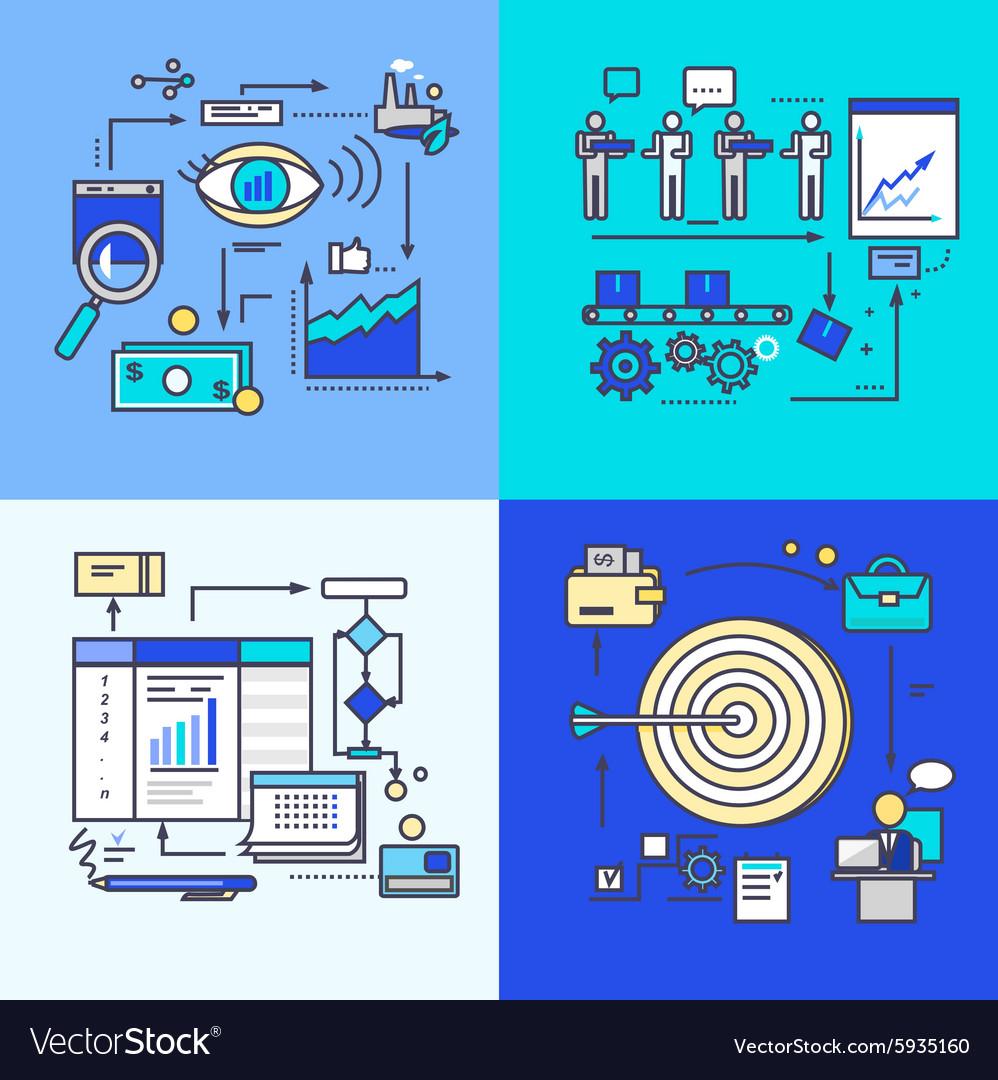 Vision Development Progress and Workflow Goal vector image