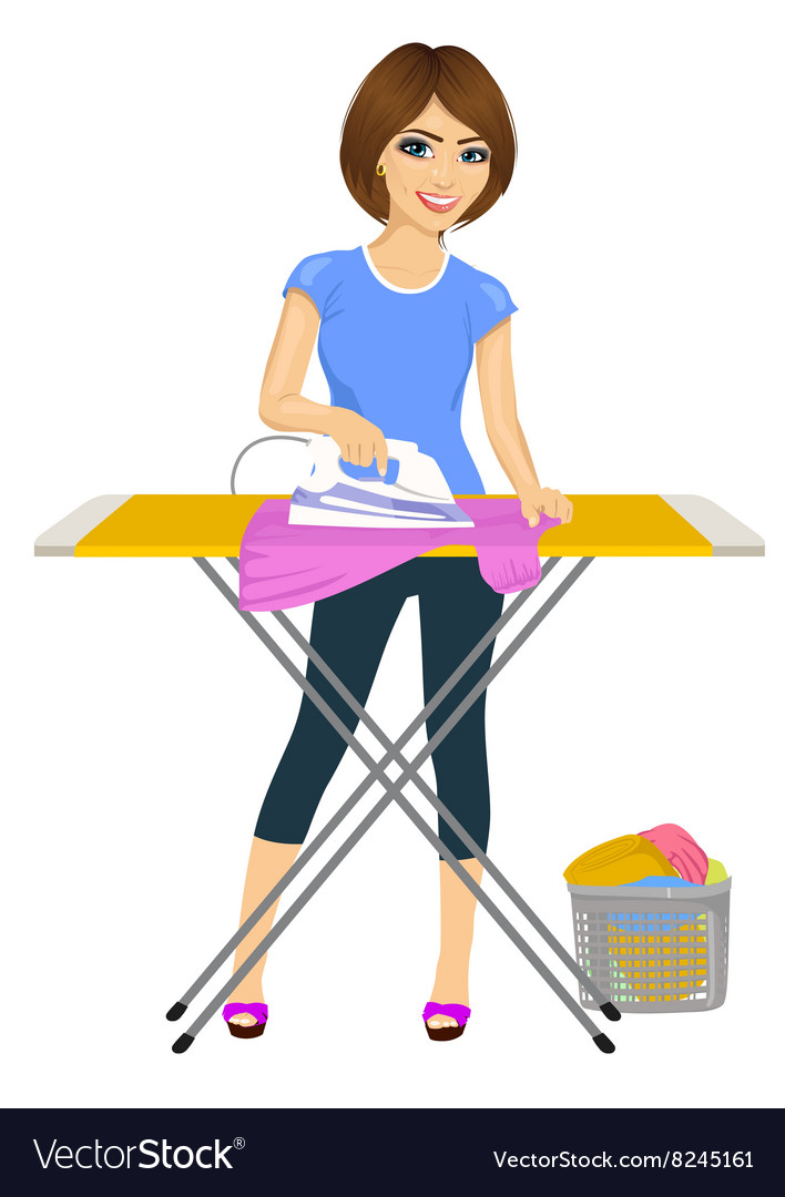 Cartoon Clothes Iron ~ Woman ironing clothes housework royalty free vector image