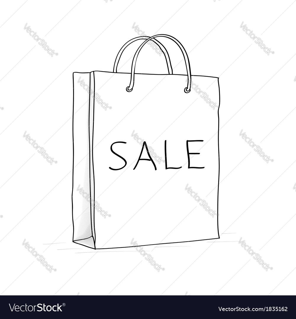 Paper bag sketch - Sale Bag Icon Sketch In Doodle Style Vector Image