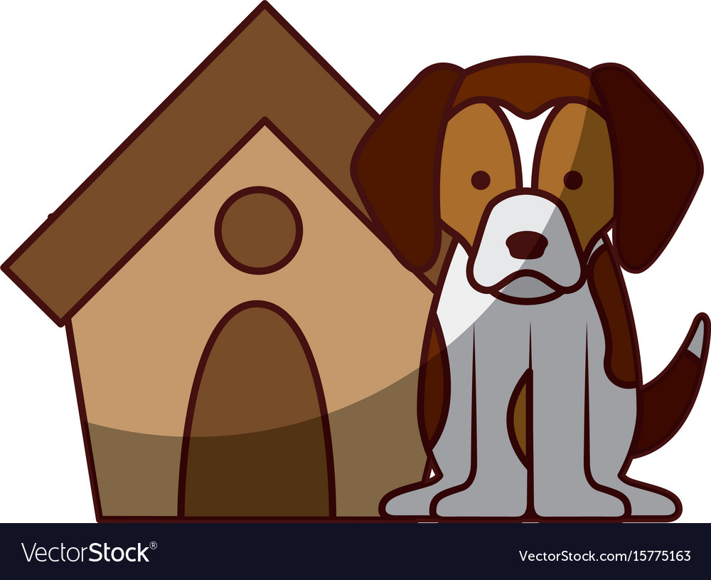 Cute dog mascot with house vector image