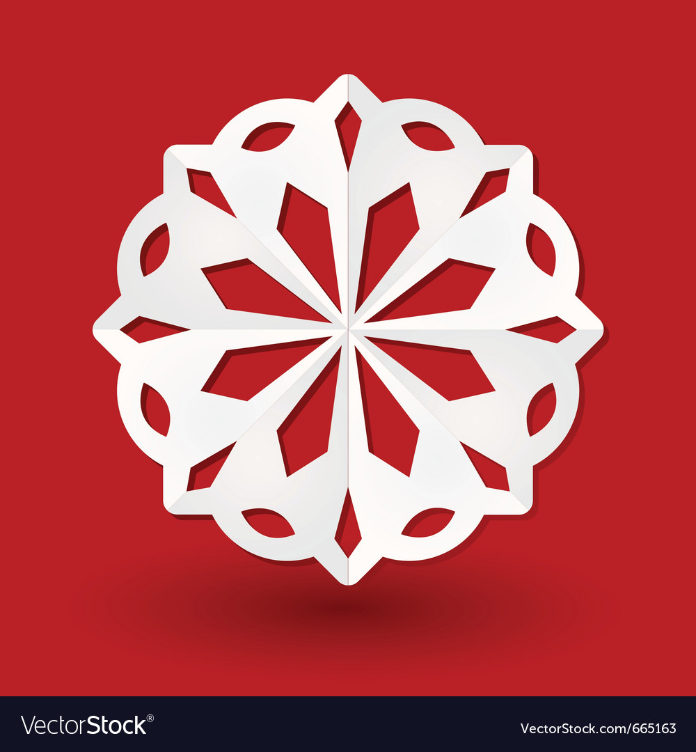 Paper cut snowflake vector image