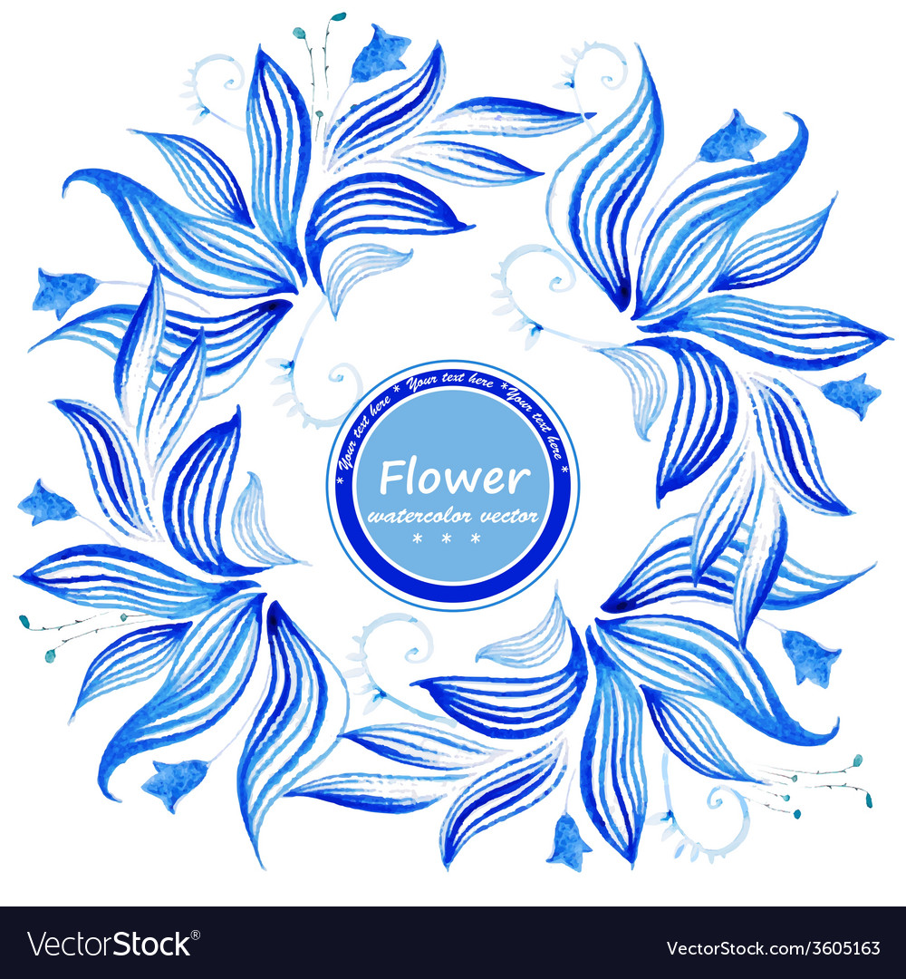 Watercolor flowers frame Endless floral pattern vector image