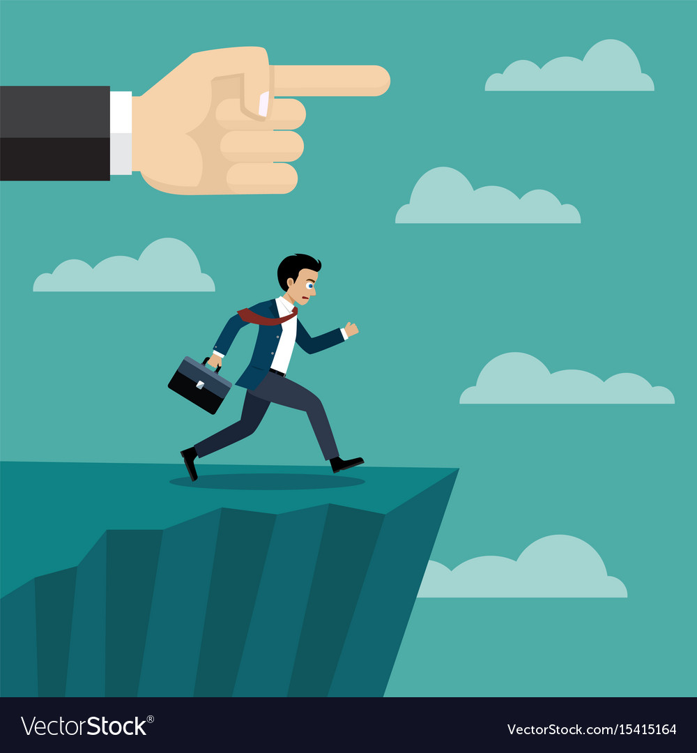 Boss hand pushes businessman vector image