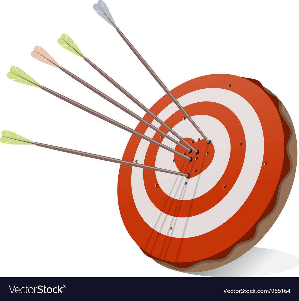 Target and Red Heart vector image