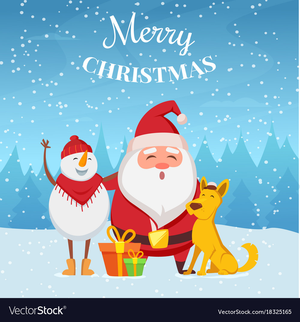 Christmas background with funny characters santa vector image kristyandbryce Choice Image